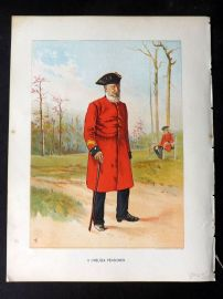 Richards Her Majesty's Army 1890 Military Print. Chelsea Pensioner